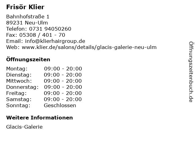 Frisör Klier GmbH in Neu-Ulm: Adresse und Öffnungszeiten