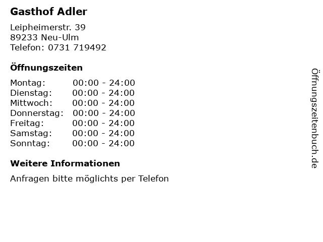 Gasthof Adler in Neu-Ulm: Adresse und Öffnungszeiten