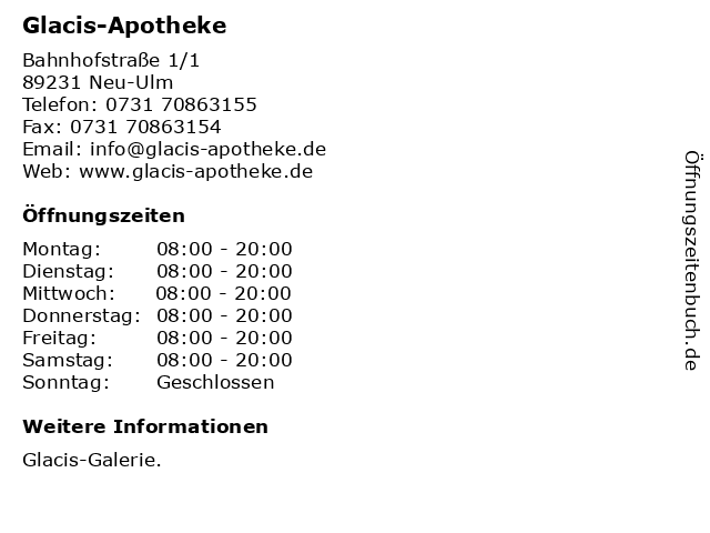 Glacis-Apotheke in Neu-Ulm: Adresse und Öffnungszeiten
