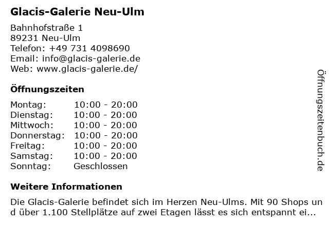 Glacis-Galerie Neu-Ulm in Neu-Ulm: Adresse und Öffnungszeiten