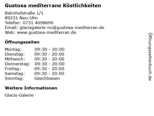 Gustosa mediterrane Köstlichkeiten in Neu-Ulm: Adresse und Öffnungszeiten