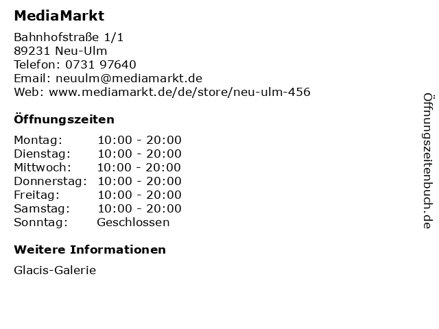 Media Markt TV-HiFi-Elektro GmbH in Neu-Ulm: Adresse und Öffnungszeiten