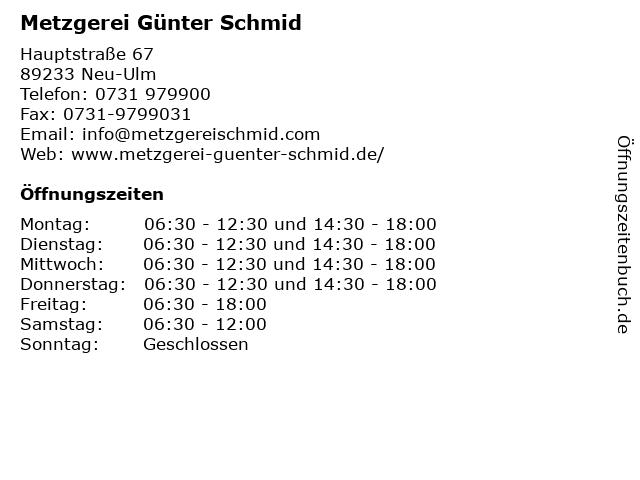 Metzgerei Günter Schmid in Neu-Ulm: Adresse und Öffnungszeiten