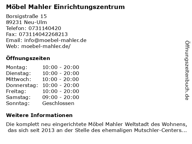 ᐅ öffnungszeiten Möbel Mahler Einrichtungszentrum Borsigstraße