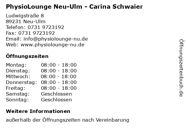 PhysioLounge Neu-Ulm - Carina Schwaier in Neu-Ulm: Adresse und Öffnungszeiten