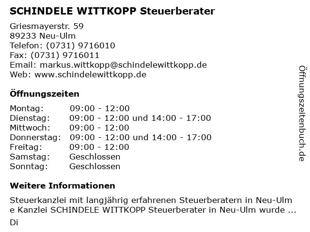 SCHINDELE WITTKOPP Steuerberater in Neu-Ulm: Adresse und Öffnungszeiten
