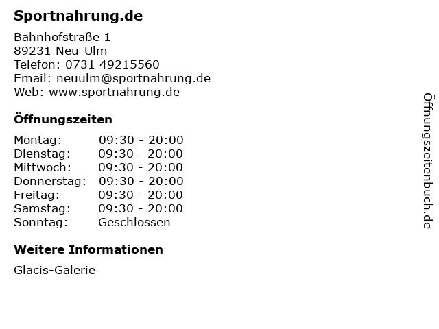 Sportnahrung.de in Neu-Ulm: Adresse und Öffnungszeiten