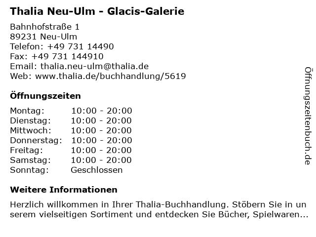 Thalia Neu-Ulm - Glacis-Galerie in Neu-Ulm: Adresse und Öffnungszeiten