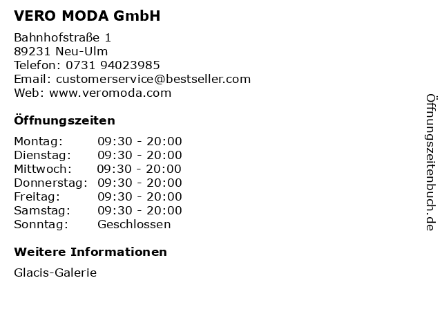 VERO MODA GmbH in Neu-Ulm: Adresse und Öffnungszeiten