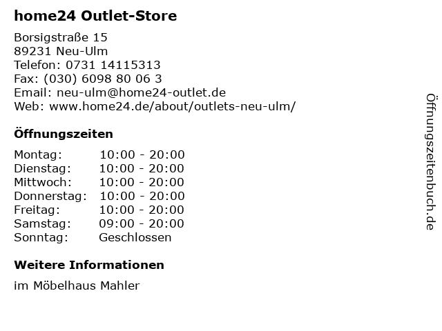 ᐅ öffnungszeiten Home24 Outlet Store Borsigstraße 15 In Neu Ulm