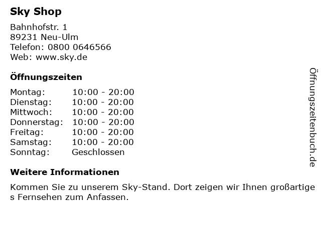 sky Entertainment Point in Neu-Ulm: Adresse und Öffnungszeiten