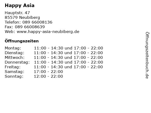 Happy Asia in Neubiberg: Adresse und Öffnungszeiten