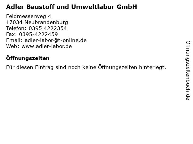 Adler Baustoff und Umweltlabor GmbH in Neubrandenburg: Adresse und Öffnungszeiten
