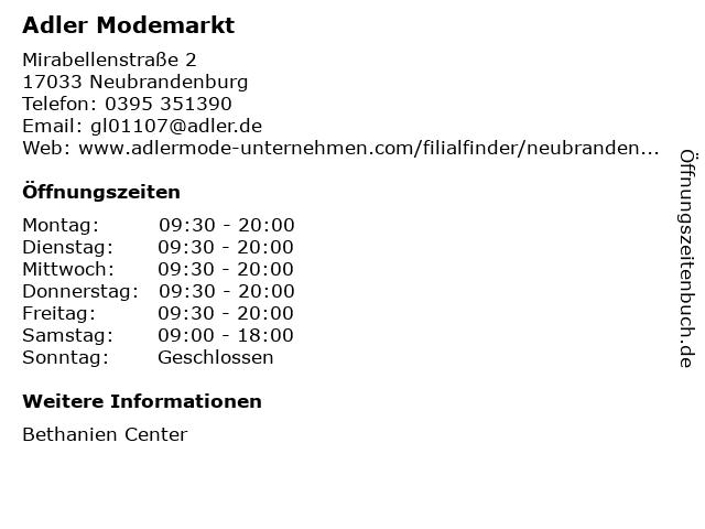 Adler Modemärkte AG in Neubrandenburg: Adresse und Öffnungszeiten