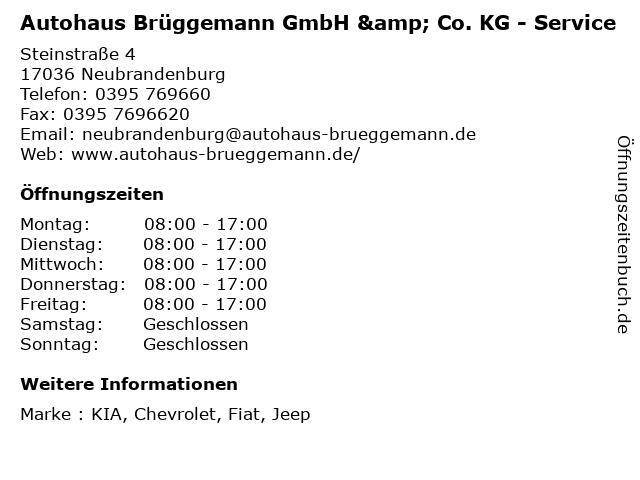 Autohaus Brüggemann GmbH & Co. KG - Service in Neubrandenburg: Adresse und Öffnungszeiten