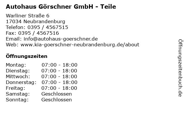 Autohaus Görschner GmbH - Teile in Neubrandenburg: Adresse und Öffnungszeiten