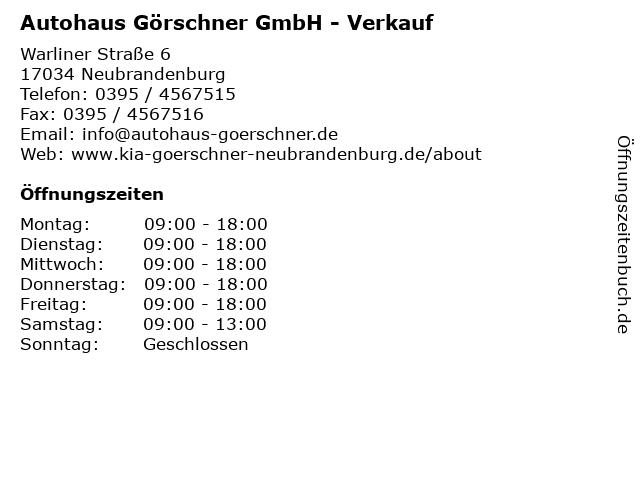 Autohaus Görschner GmbH - Verkauf in Neubrandenburg: Adresse und Öffnungszeiten