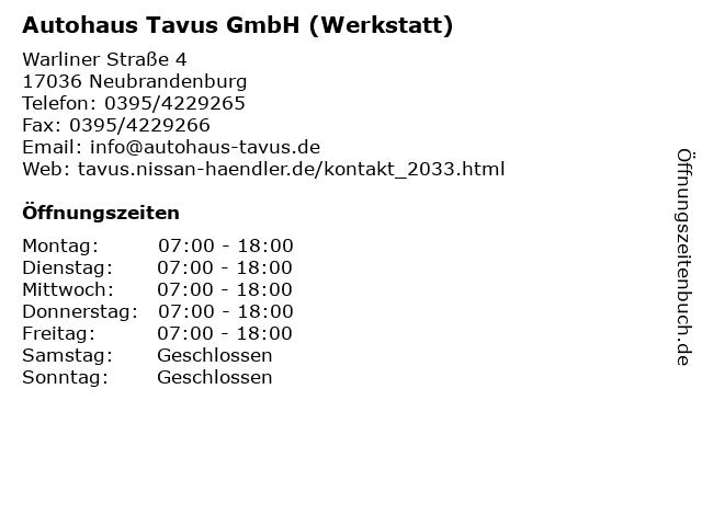 Autohaus Tavus GmbH (Werkstatt) in Neubrandenburg: Adresse und Öffnungszeiten