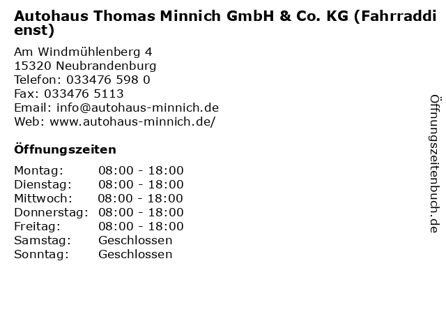 Autohaus Thomas Minnich GmbH & Co. KG (Fahrraddienst) in Neubrandenburg: Adresse und Öffnungszeiten