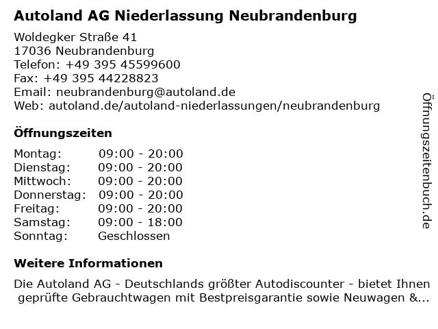 Autoland AG Niederlassung Neubrandenburg in Neubrandenburg: Adresse und Öffnungszeiten