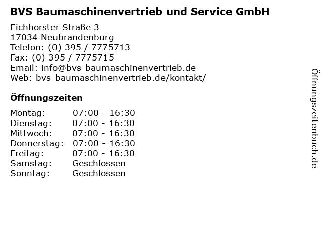 BVS Baumaschinenvertrieb und Service GmbH in Neubrandenburg: Adresse und Öffnungszeiten