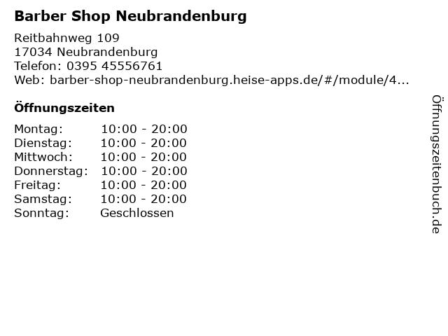 Barber Shop Neubrandenburg in Neubrandenburg: Adresse und Öffnungszeiten