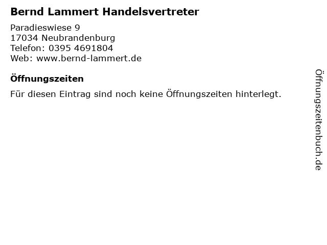 Bernd Lammert Handelsvertreter in Neubrandenburg: Adresse und Öffnungszeiten