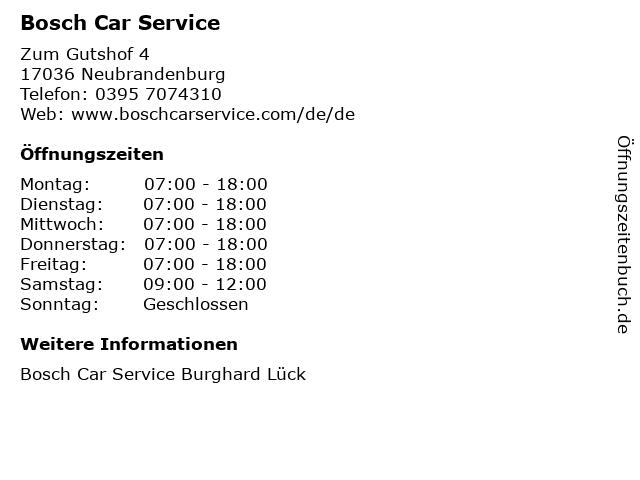 Bosch Car Service in Neubrandenburg: Adresse und Öffnungszeiten