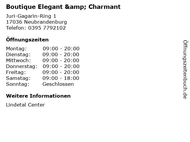 Boutique Elegant & Charmant in Neubrandenburg: Adresse und Öffnungszeiten