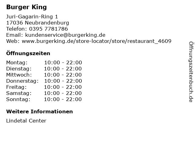 Burger King Restaurant in Neubrandenburg: Adresse und Öffnungszeiten