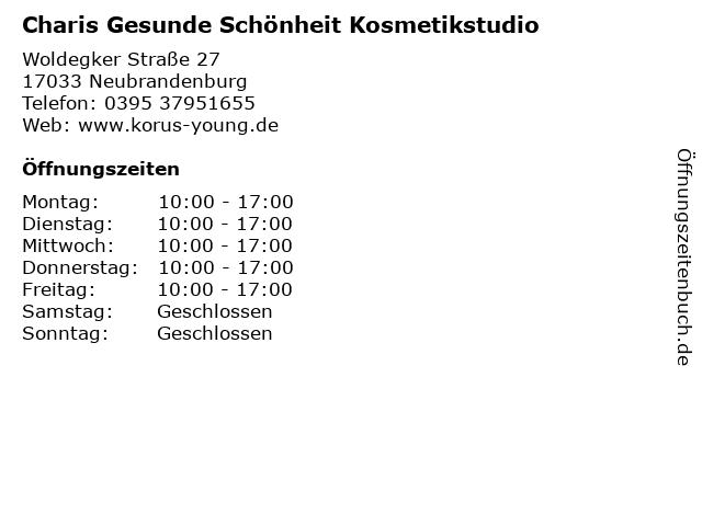 Charis Gesunde Schönheit Kosmetikstudio in Neubrandenburg: Adresse und Öffnungszeiten