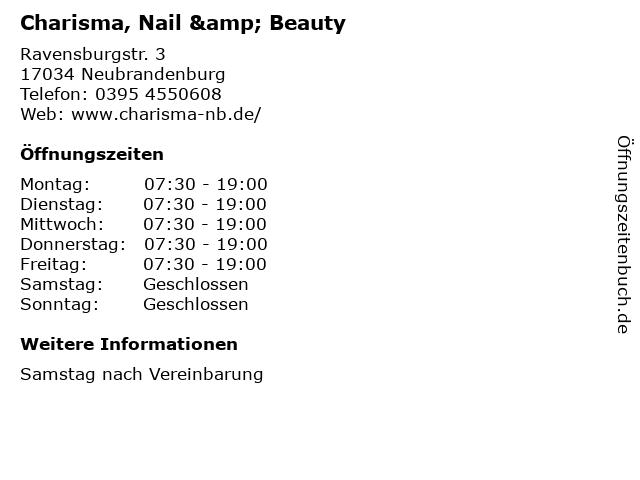 Charisma, Nail & Beauty in Neubrandenburg: Adresse und Öffnungszeiten