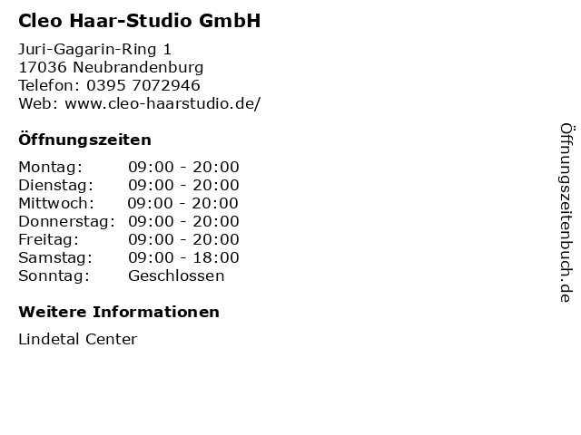 Cleo Haar-Studio GmbH in Neubrandenburg: Adresse und Öffnungszeiten