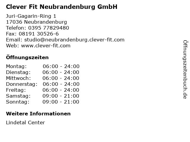 Clever Fit Neubrandenburg GmbH in Neubrandenburg: Adresse und Öffnungszeiten