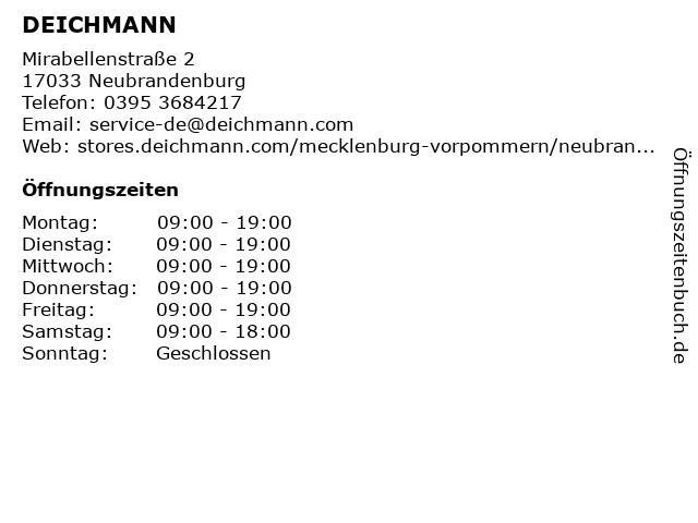 Deichmann Schuhe in Neubrandenburg: Adresse und Öffnungszeiten