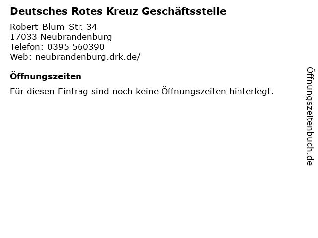 Deutsches Rotes Kreuz Geschäftsstelle in Neubrandenburg: Adresse und Öffnungszeiten