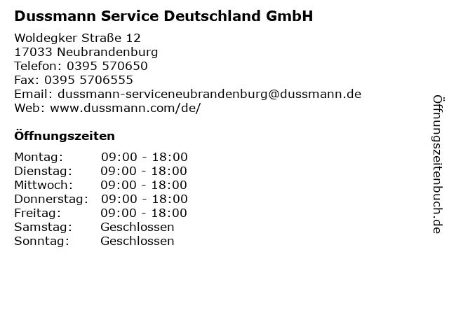 Dussmann Service Deutschland GmbH in Neubrandenburg: Adresse und Öffnungszeiten