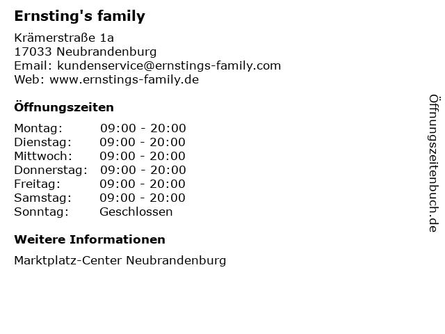 Ernsting's family GmbH & Co. KG in Neubrandenburg: Adresse und Öffnungszeiten