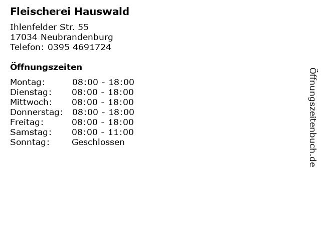 Fleischerei Hauswald in Neubrandenburg: Adresse und Öffnungszeiten