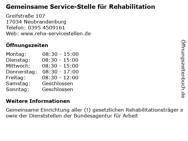 Gemeinsame Service-Stelle für Rehabilitation in Neubrandenburg: Adresse und Öffnungszeiten