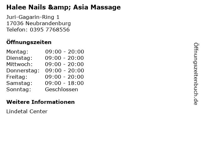 Halee Nails & Asia Massage in Neubrandenburg: Adresse und Öffnungszeiten