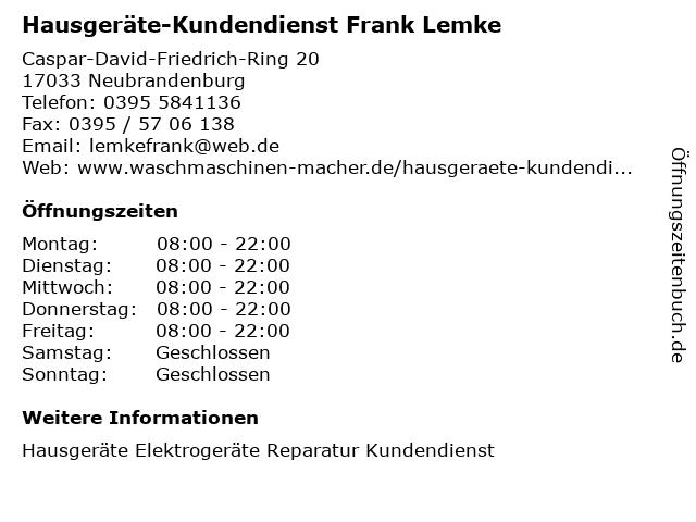 Hausgeräte-Kundendienst Frank Lemke in Neubrandenburg: Adresse und Öffnungszeiten