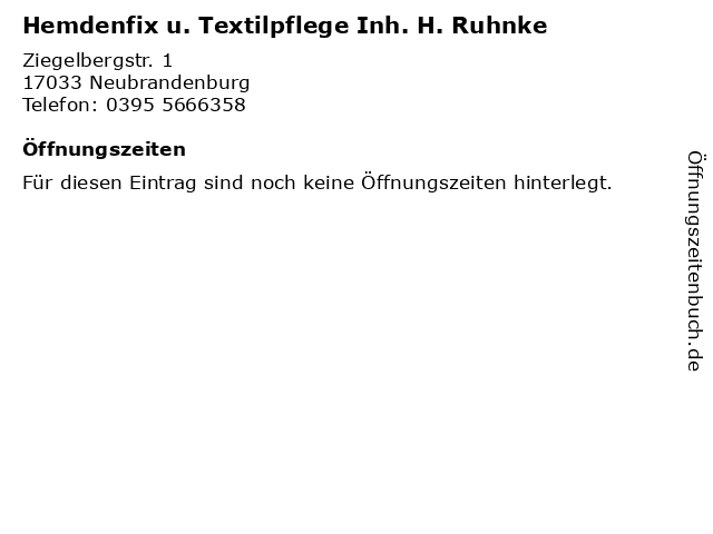 Hemdenfix u. Textilpflege Inh. H. Ruhnke in Neubrandenburg: Adresse und Öffnungszeiten