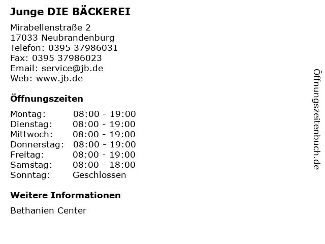 Junge DIE BÄCKEREI in Neubrandenburg: Adresse und Öffnungszeiten