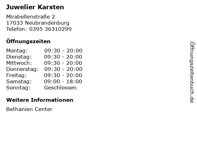 Juwelier Karsten in Neubrandenburg: Adresse und Öffnungszeiten