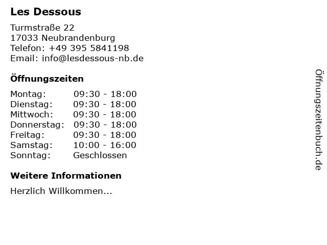 Les Dessous in Neubrandenburg: Adresse und Öffnungszeiten