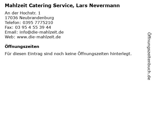 Mahlzeit Catering Service, Lars Nevermann in Neubrandenburg: Adresse und Öffnungszeiten