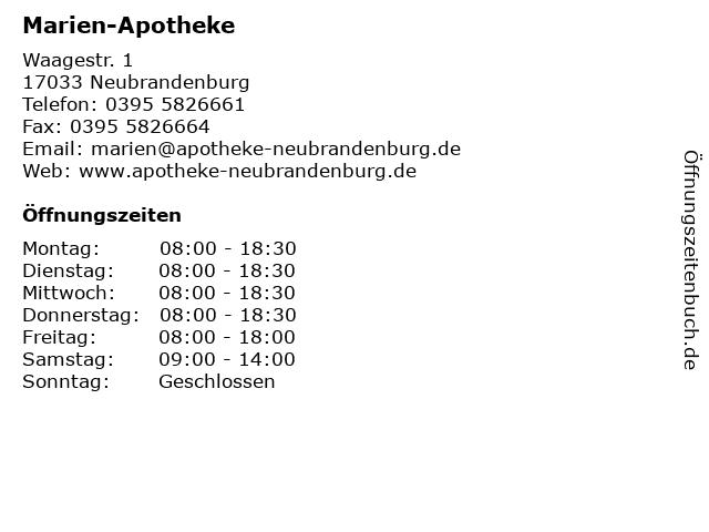 Marien-Apotheke, Maria Große Hokamp in Neubrandenburg: Adresse und Öffnungszeiten