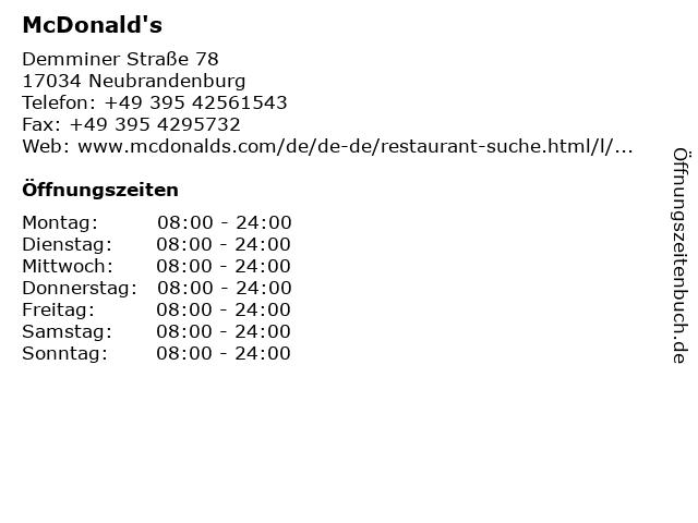 McDonalds Deutschland LLC in Neubrandenburg: Adresse und Öffnungszeiten