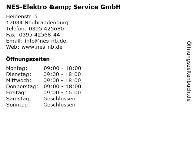 NES-Elektro & Service GmbH in Neubrandenburg: Adresse und Öffnungszeiten